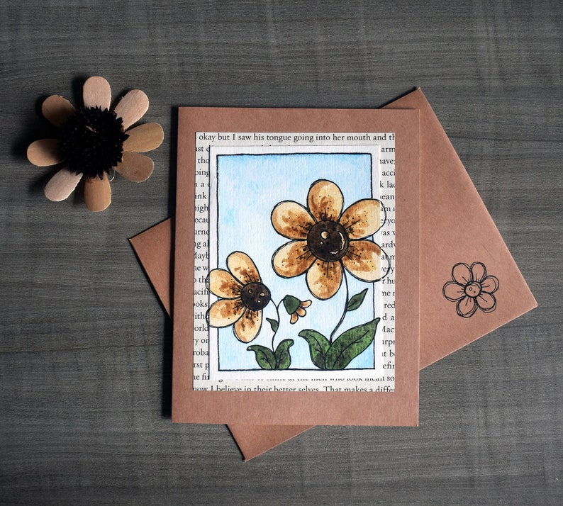 Handmade Watercolor All Occasion Card with Sketchy Hand-drawn image 0