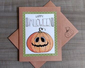 Handmade Watercolor Jack O' Lantern Card
