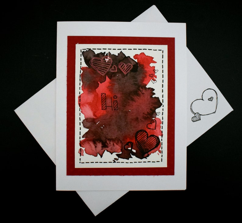 Handmade Watercolor Any Occasion Card with Watercolour Hearts