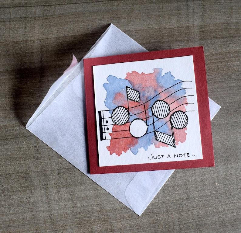 Set of 3 Watercolour Note Cards with Music Notes image 0