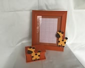 handmade picture frame and keepsake box set with giraffe