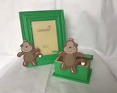 Handmade monkey keepsake box and frame