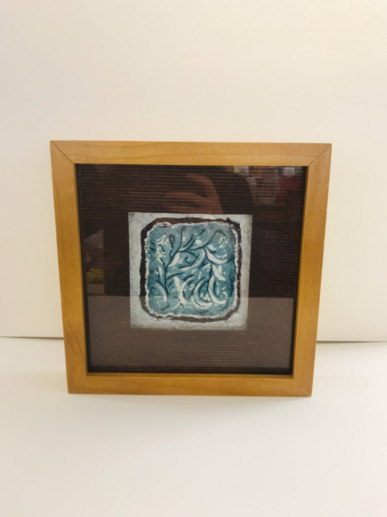 Abstract textured painting in a box frame image 0