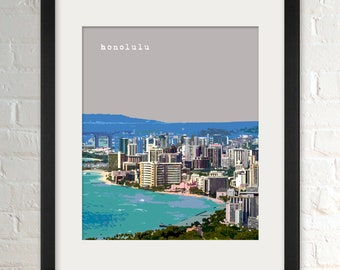 Honolulu HI   City Wall Art   Minimalist Home Decor   Prints, Framed Prints, Gallery Wrap Canvas, and Plaques
