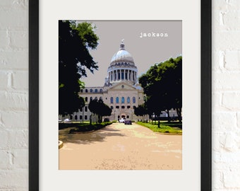 Jackson MS   City Wall Art   Minimalist Home Decor   Prints, Framed Prints, Gallery Wrap Canvas, and Plaques