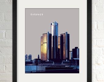 Detroit MI   City Wall Art   Minimalist Home Decor   Prints, Framed Prints, Gallery Wrap Canvas, and Plaques