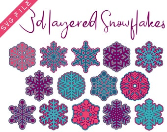 3D Layered Snowflakes