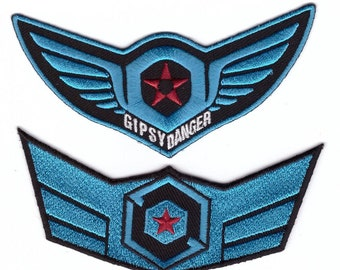 """Gipsy Danger  iron on embroidered patch 3.2/"""" x 1.8/"""" Jaeger cosplay Pacific Rim"""