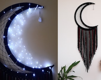 """Crescent Moon 24"""",20"""",16""""/Magic moon/Luminous month/Dreamcatcher White Black/ Decor Fairy Light Dreamer with Macrame Tail/ Moon wall hanging"""
