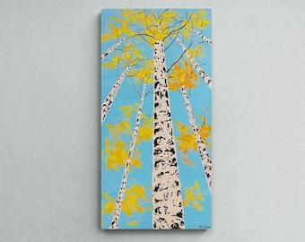 Aspen Tree Art Original - look up , Fall Colors Wall Art, birch tree, Foliage Art Autumn Colors Art, Fall Color Painting by Nisha Ghela