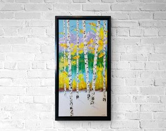 Aspen Tree Painting with Lake, Aspen Tree Art, Birch Tree Original Canvas Painting by Nisha Ghela, made to order