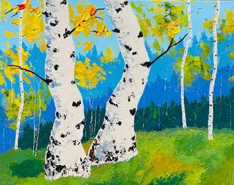 Aspen Tree Painting, Aspen Tree Art, Birch Tree Original Canvas Painting by Nisha Ghela