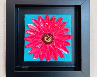 Framed Pink Coral flower Painting Mini Canvas with easel, Impasto pink flower art, floral Mini Canvas Original painting by Nisha Ghela