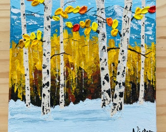 Aspen Tree Art Original, Aspen tree painting Small 8x8 inch , Fall Colors Wall Art, birch tree, Fall Color Painting by Nisha Ghela