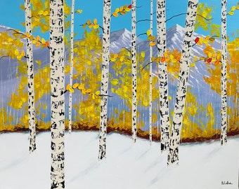 Aspen Tree Painting, Large Aspen Tree Art, Birch Tree Original Aspen tree hand painted by Nisha Ghela