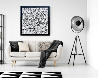 Jackson Pollock Style painting, Black and White Canvas Art, Pollack painting style Framed Art by Nisha Ghela