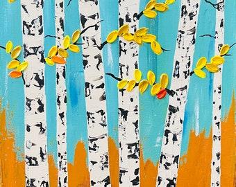 Aspen Tree Painting, Abstract Aspen Tree Art, Birch Tree painting Original Aspen tree hand painted by Nisha Ghela