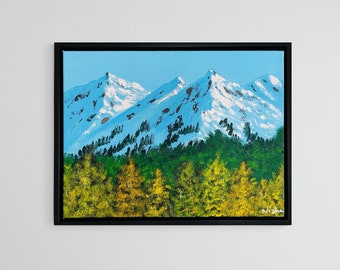 Snowy mountain painting  with Trees- ready to ship. Colorado mountain painting, Landscape Colorado art by Nisha Ghela