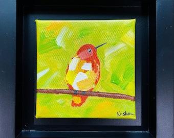 Abstract Bird Painting, Framed Chickadee Art, Sweet Bird on a Tree Painting, Bird Wall Art by Nisha Ghela