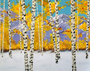 Aspen Tree Painting, Commission Painting, Birch tree painting, Snowy Mountain Painting, Colorado Custom Painting by Nisha Ghela