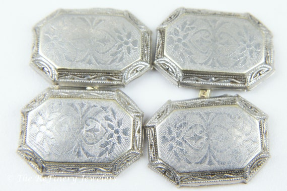 Platinum and 14K White Gold Victorian Engraved Cu… - image 1