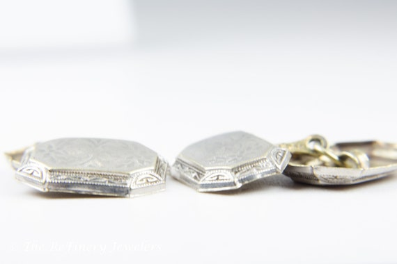 Platinum and 14K White Gold Victorian Engraved Cu… - image 3