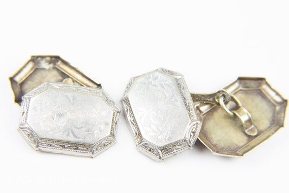 Platinum and 14K White Gold Victorian Engraved Cu… - image 2