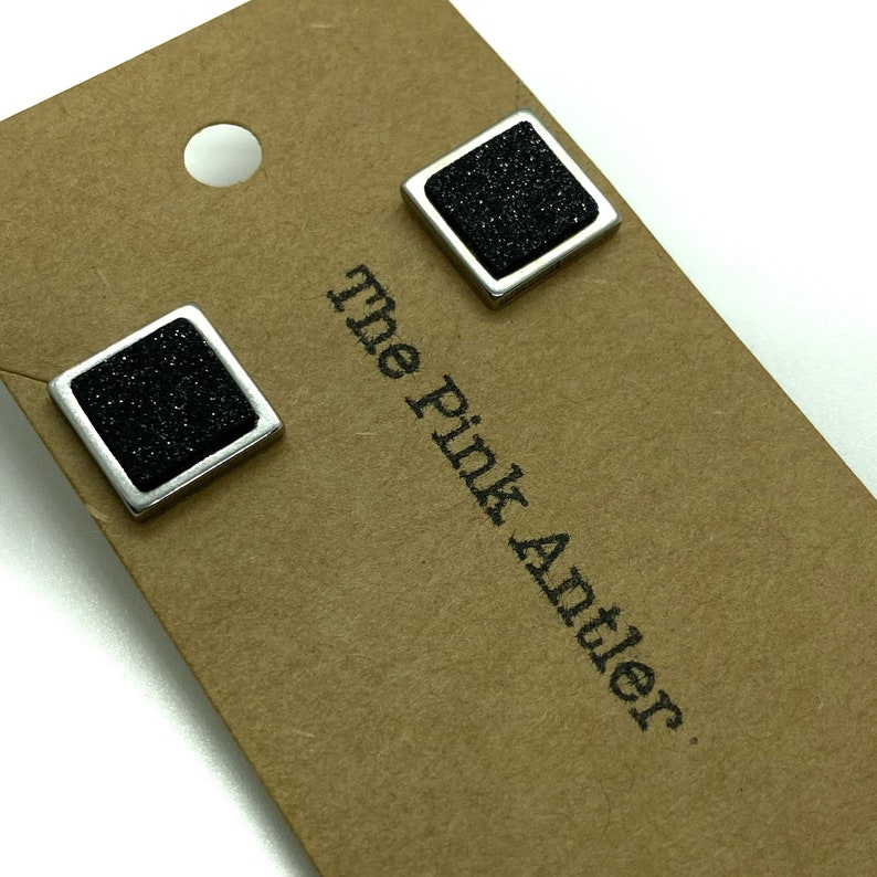 Geometric Stud Earrings Tiny Black Glitter Cork Square Studs Minimalist Stainless Steel Studs, Vegan Leather Everyday Post Earrings