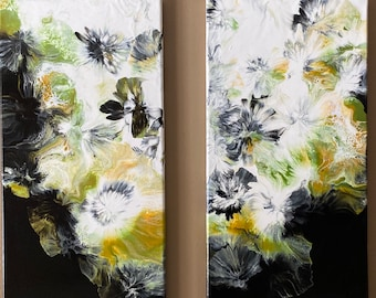 """Two Panel Acrylic Pour Painting """"The Black Rose Series"""" Original and Abstract Wall Art 10""""x20"""" (each) Black & Gold"""