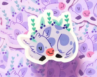 Blueberry Cow Opaque Gloss Vinyl Sticker/ Cute Pastel Decal For Laptop/Console/Phone