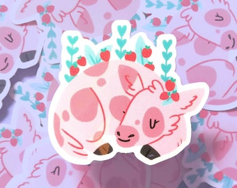 Strawberry Cow Opaque Gloss Vinyl Sticker/ Cute Pastel Decal For Laptop/Console/Phone