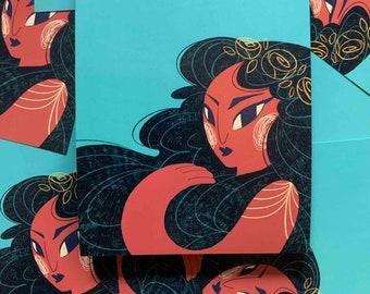 Flower Girl Illustration A5 Art Print - Indie Colourful Art