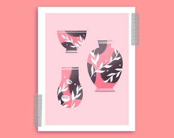 Flowers + Ceramics A5 Recycled Illustration Print/ Nature/Pots/Pottery/Pink