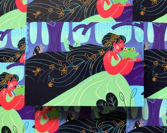 Princess and The Frog - A5 Illustration Print / Nature / Plants / Magpies