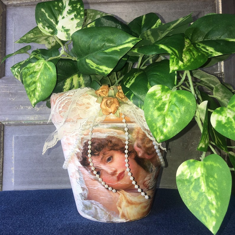 Clay Pot Planter Decoupaged Decopodged 7.5\u201d Angels Centerpiece Vintage Look Flower Pot PLANTS NOT INCLUDED