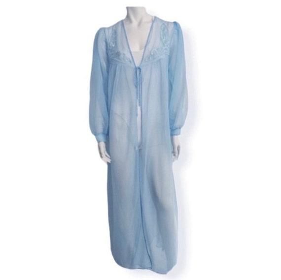 Vintage blue chiffon robe embroidered peignoir rob