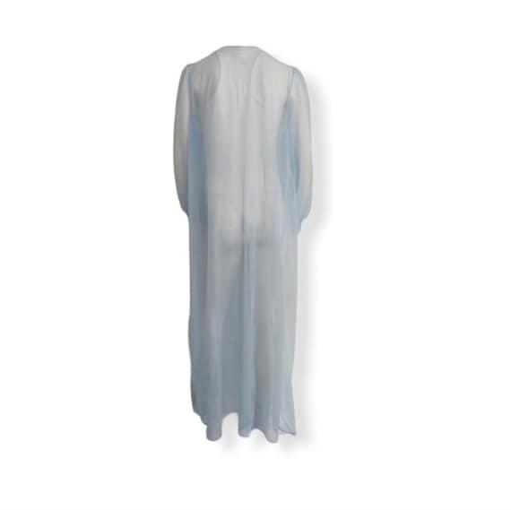 Vintage blue chiffon robe embroidered peignoir ro… - image 8