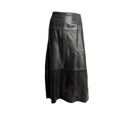 Vintage Bally leather maxi skirt large