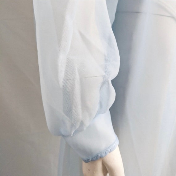 Vintage blue chiffon robe embroidered peignoir ro… - image 3