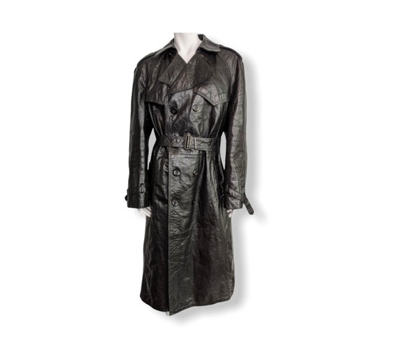 Black vintage leather trench maxi coat