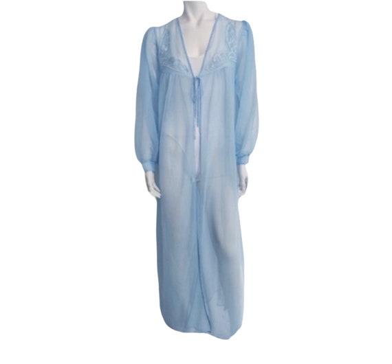 Vintage blue chiffon robe embroidered peignoir ro… - image 1