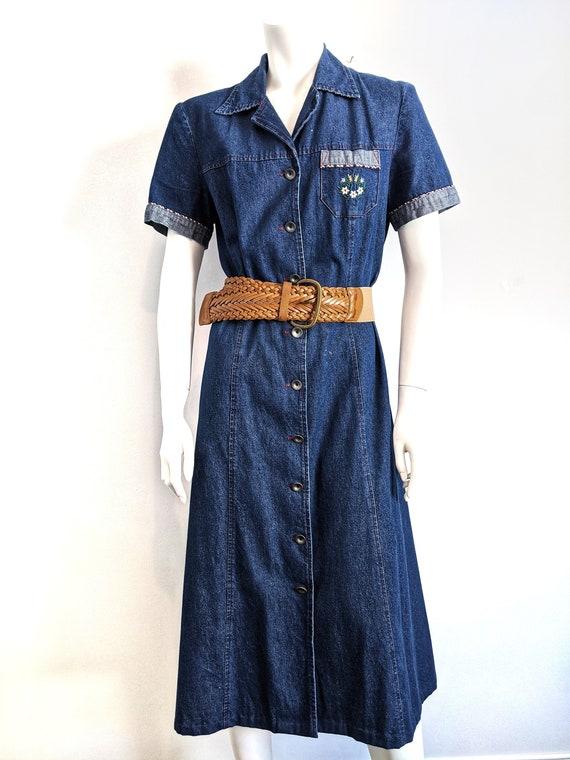Vintage 1970s denim button down dress