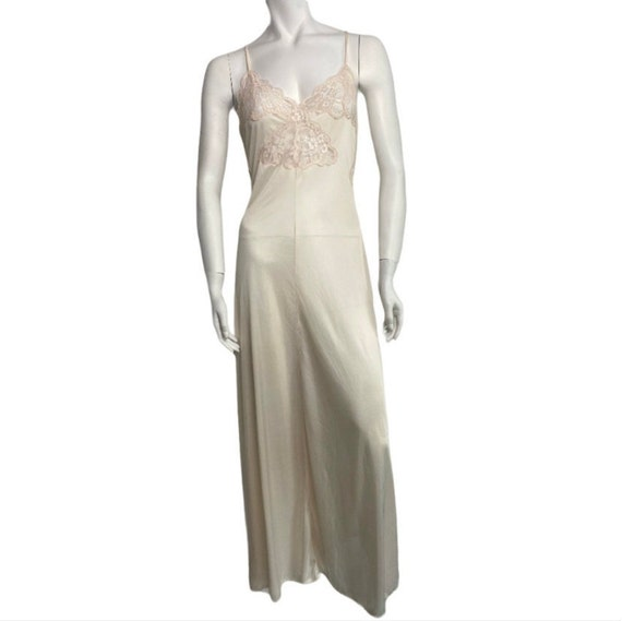 Vintage satin lace long nightgown slip xs small