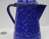 Vintage, Antique, Blue and White, Enamel Finished, Coffee Pot, Water, Pitcher, Porcelain, Old