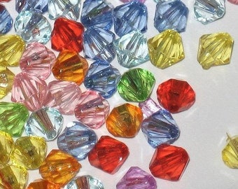 Assorted Acrylic Beads 6mm Bicone pack of 200