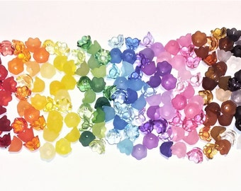 Lucite Flower Beads 7 x 13mm Mixed 50 Pcs Art Hobby DIY Jewellery Making Crafts