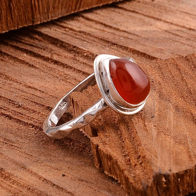 Red Coral Gemstone,Silver Ring,Gemstone Silver Ring,925 Sterling Silver Ring,Midi Ring,Minimalist Ring,Gift For Her,Ring For Women,Dad Gift