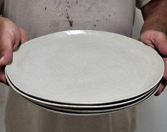 White Dinner Plates Set, White Ceramic Plates Set, Ceramic Dinner Plate Set Of 1-12, Handmade Dinnerware Set, Rustic White Plates Set