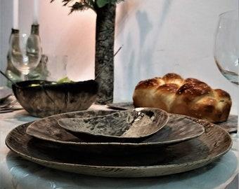 Ceramic Dish Sets, Modern Dinnerware Set, Stoneware Dinner Set, Rustic Dinnerware Set, Unique Dinner Plates Set, Handmade Dinnerware Set