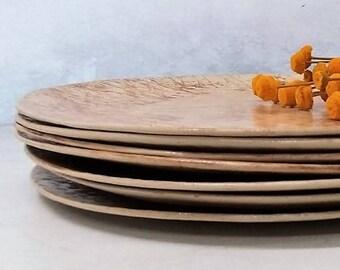 Ceramic Dinnerware Set, Clay Plate Set, Rustic Dinner Plates, Unique Plates, Pottery Plates Set, Handmade Dinner Plates Set